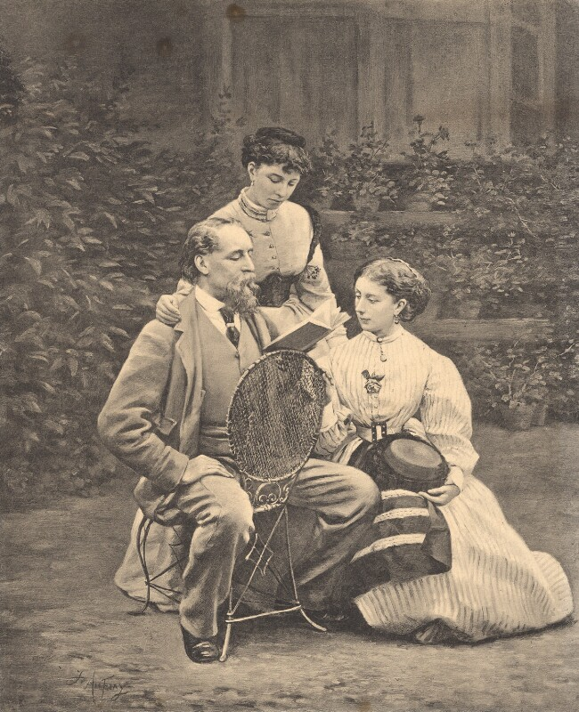 Charles Dickens with his daughters, Mamie Dickens and Catherine ('Katey') Elizabeth Macready Perugini (née Dickens), after Joseph Athanase Aufray, after a photograph by  Mason & Co (Robert Hindry Mason), published 18 December 1869 - NPG D2272 - © National Portrait Gallery, London