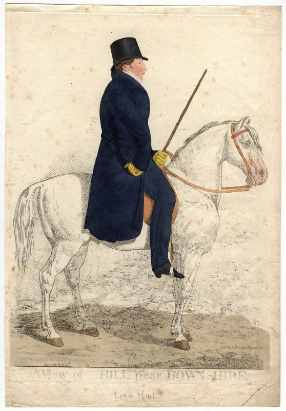 Arthur Moyses William Hill, 2nd Baron Sandys ('A view of Hill near Downshire'), by and published by Richard Dighton, reissued by  Thomas McLean, published 1817 - NPG D2282 - © National Portrait Gallery, London