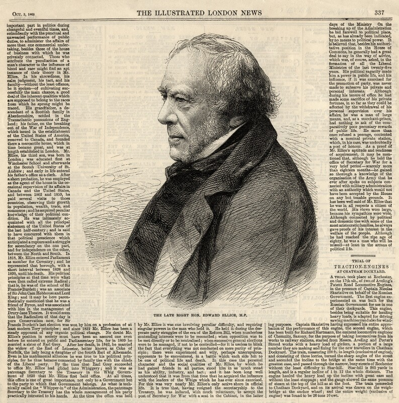 Edward Ellice, by Thomas Dewell Scott, published by  Illustrated London News, published 3 October 1863 - NPG D2303 - © National Portrait Gallery, London