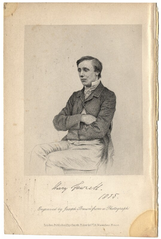Henry Fawcett, by Joseph Brown, after  Unknown photographer, 1855 - NPG D2333 - © National Portrait Gallery, London