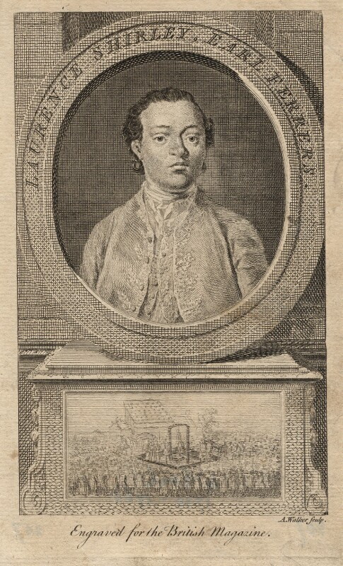 Laurence Shirley, 4th Earl Ferrers, by Anthony Walker, after  Unknown artist, 1760 or after - NPG D2338 - © National Portrait Gallery, London