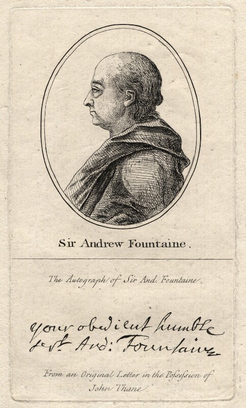 Sir Andrew Fountaine, after Unknown artist, late 18th-early 19th century - NPG D2360 - © National Portrait Gallery, London