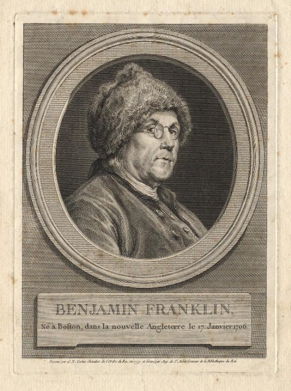 Benjamin Franklin, by Augustin de Saint-Aubin, after  Charles Nicolas Cochin, 1777 - NPG D2369 - © National Portrait Gallery, London