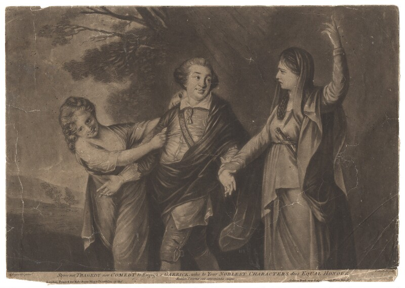 David Garrick ('Strive not Tragedy nor Comedy to Engross a Garrick, who to your Noblest Characters does Equal Honour'), by Richard Purcell (H. Fowler, Charles or Philip Corbutt), printed for  Robert Sayer, after  Sir Joshua Reynolds, (1760-1761) - NPG D2420 - © National Portrait Gallery, London