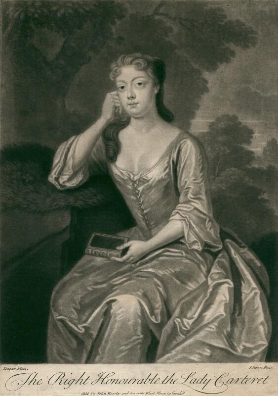 Frances Carteret (née Worsley), Lady Carteret, by John Simon, after  Charles D'Agar, early 18th century - NPG D2481 - © National Portrait Gallery, London