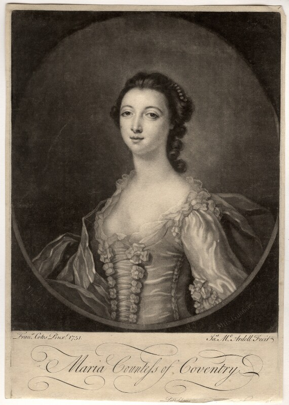 Maria (née Gunning), Countess of Coventry, by James Macardell, after  Francis Cotes, 1750s-1760s - NPG D2508 - © National Portrait Gallery, London