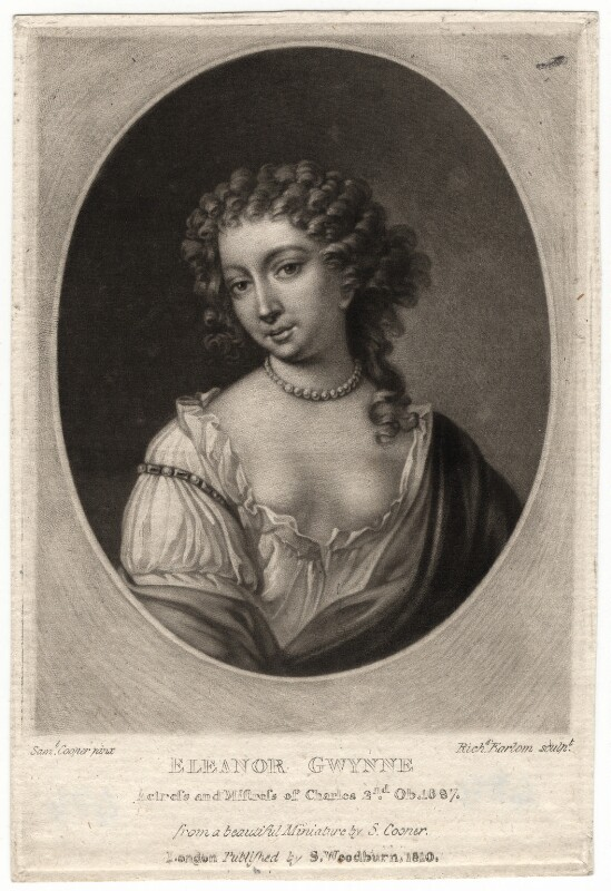 Nell Gwyn, by Richard Earlom, published by  Samuel Woodburn, after  Samuel Cooper, published 1810 - NPG D2514 - © National Portrait Gallery, London