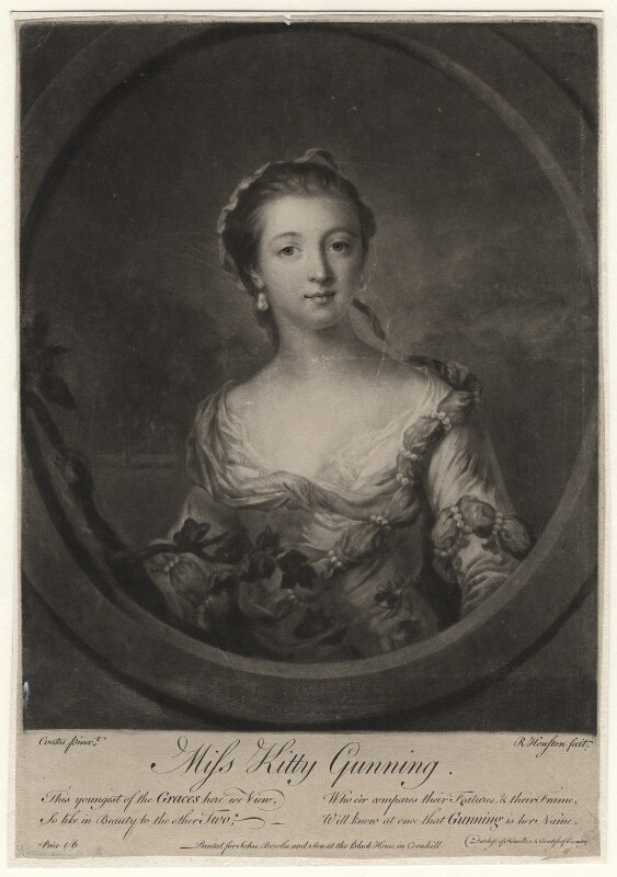 Catherine Travis (née Gunning), by Richard Houston, published by  John Bowles, after  Francis Cotes, 1755 - NPG D2534 - © National Portrait Gallery, London