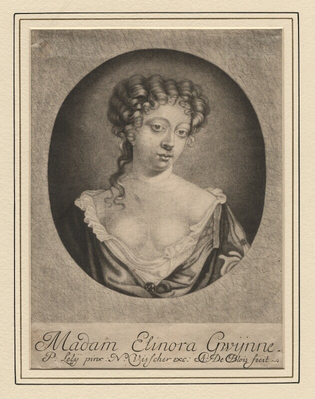 Eleanor ('Nell') Gwyn ('Madam Elinora Gwÿnne'), by Abraham de Blois, published by  Nicolaes Visscher II, after  Sir Peter Lely, (1670s) - NPG D2543 - © National Portrait Gallery, London