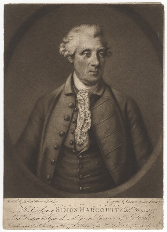 Simon Harcourt, 1st Earl Harcourt, by Edward Fisher, after  Robert Hunter, published 16 August 1775 (1772-1775) - NPG D2585 - © National Portrait Gallery, London