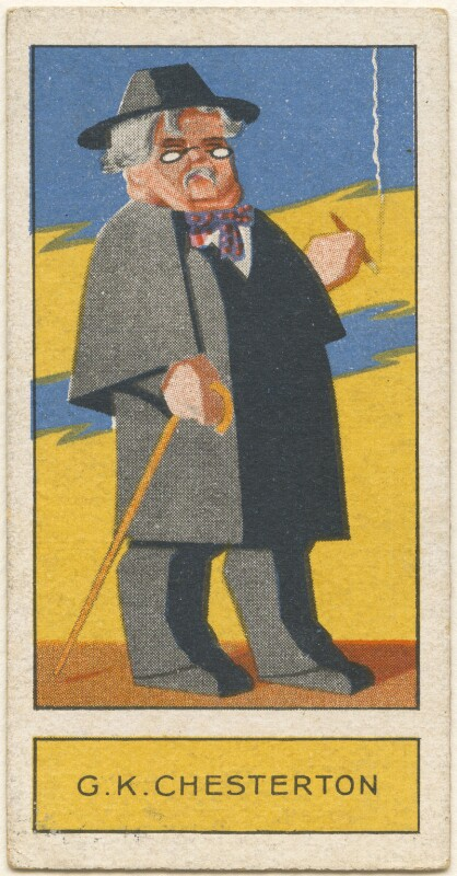 G.K. Chesterton, by Unknown artist, issued by  Godfrey Phillips, 1932 - NPG D2723 - © National Portrait Gallery, London