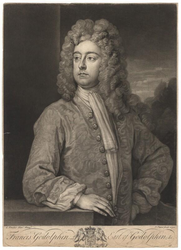 Francis Godolphin, 2nd Earl of Godolphin, by John Faber Jr, after  Sir Godfrey Kneller, Bt, 1732 (circa 1710-1712) - NPG D2784 - © National Portrait Gallery, London