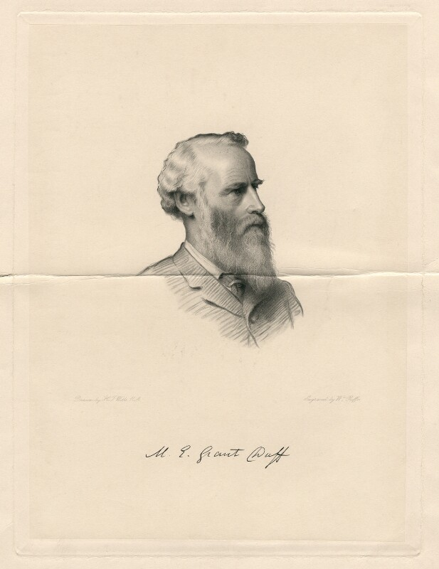 Sir Mountstuart Elphinstone Grant-Duff, by William Roffe, after  Henry Tanworth Wells, 1889 or after - NPG D2796 - © National Portrait Gallery, London