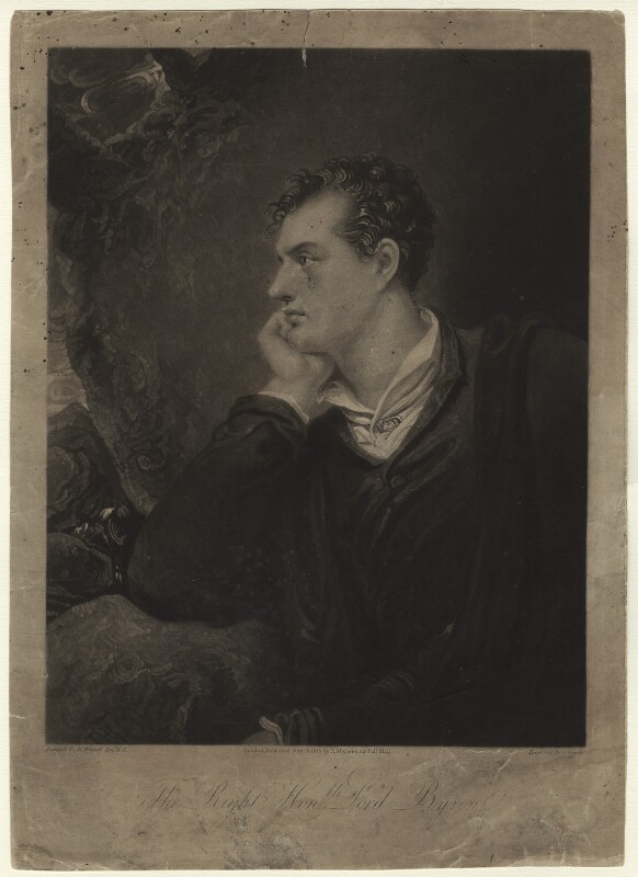 George Gordon Byron, 6th Baron Byron, by Charles Turner, published by  Anthony Molteno, after  Richard Westall, published 15 July 1815 (1813) - NPG D2831 - © National Portrait Gallery, London