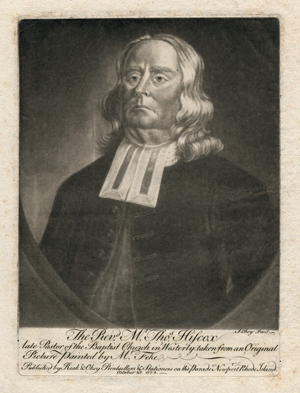 Thomas Hiscox, by and published by Samuel Okey, published by  Charles Reak, after  Robert Feke, published 25 October 1773 - NPG D3041 - © National Portrait Gallery, London