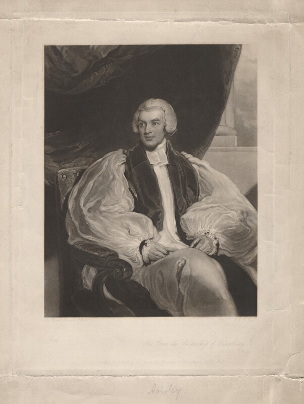 William Howley, by John Richardson Jackson, after  Sir Thomas Lawrence, published 1845 - NPG D3116 - © National Portrait Gallery, London