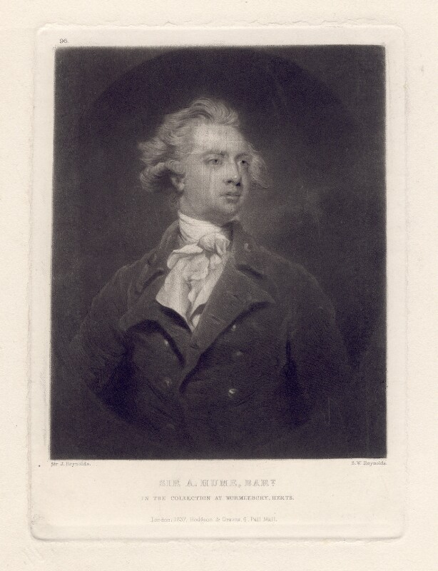 Sir Abraham Hume, 2nd Bt, by Samuel William Reynolds, after  Sir Joshua Reynolds, published 1837 (1783) - NPG D3124 - © National Portrait Gallery, London