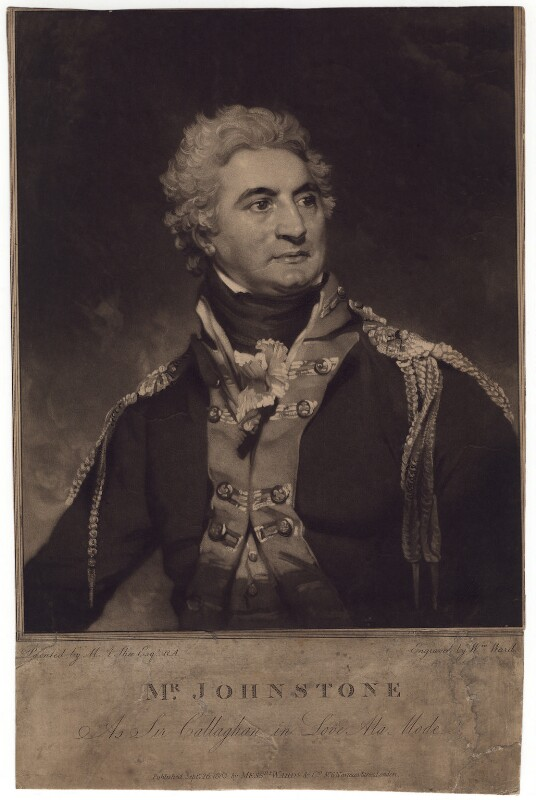 John Henry Johnstone as Sir Callaghan in 'Love a la mode', by William Ward, after  Sir Martin Archer Shee, published 1803 - NPG D3180 - © National Portrait Gallery, London