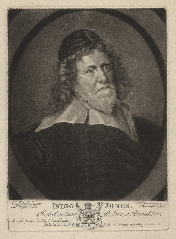 Inigo Jones, by Valentine Green, published by  John Boydell, after  Sir Anthony van Dyck, published 1 November 1775 (circa 1632-1635) - NPG D3186 - © National Portrait Gallery, London