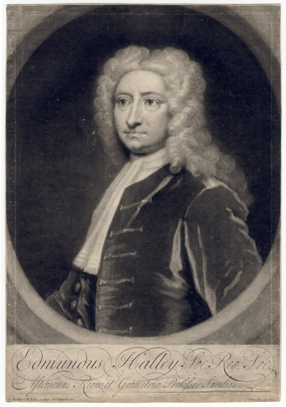Edmond Halley, by and published by George White, after  Sir Godfrey Kneller, Bt, 1721-1723 - NPG D3202 - © National Portrait Gallery, London