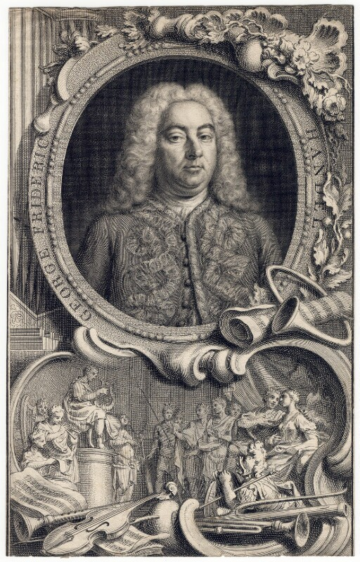 George Frideric Handel, by Jacobus Houbraken, by  Hubert-François Gravelot (né Bourguignon), 1738 - NPG D3214 - © National Portrait Gallery, London