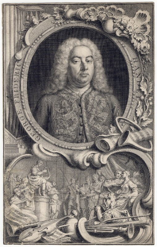 George Frideric Handel, by Jacobus Houbraken, by  Hubert-François Gravelot (né Bourguignon), 1738 - NPG D3215 - © National Portrait Gallery, London