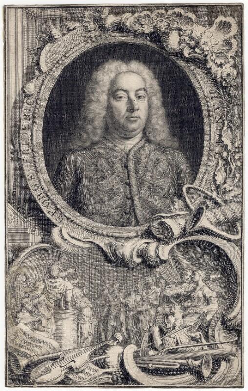George Frideric Handel, by Jacobus Houbraken, by  Hubert-François Gravelot (né Bourguignon), 1738 - NPG D3215 - © National Portrait Gallery, London