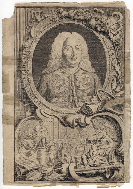 George Frideric Handel, by Jacobus Houbraken, by  Hubert-François Gravelot (né Bourguignon), 1738 - NPG D3217 - © National Portrait Gallery, London