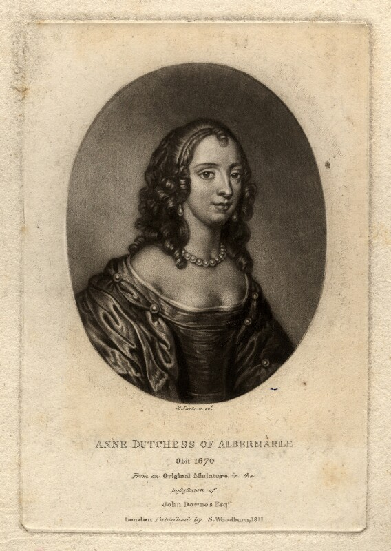 Anne Monck (née Clarges), Duchess of Albemarle, by Richard Earlom, published by  Samuel Woodburn, after  Unknown miniaturist, published 1811 - NPG D322 - © National Portrait Gallery, London