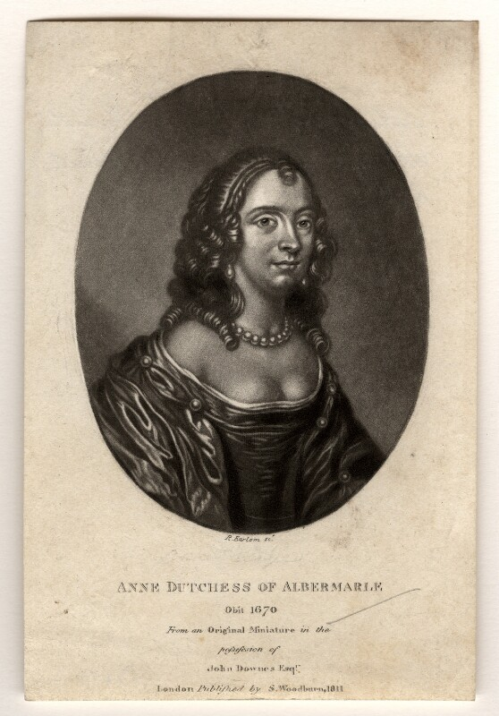 Anne Monck (née Clarges), Duchess of Albemarle, by Richard Earlom, published by  Samuel Woodburn, after  Unknown miniaturist, published 1811 - NPG D323 - © National Portrait Gallery, London