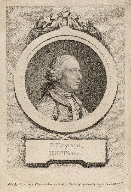 Francis Hayman, by D.P. Pariset, after  Pierre-Étienne Falconet, 1769 - NPG D3240 - © National Portrait Gallery, London