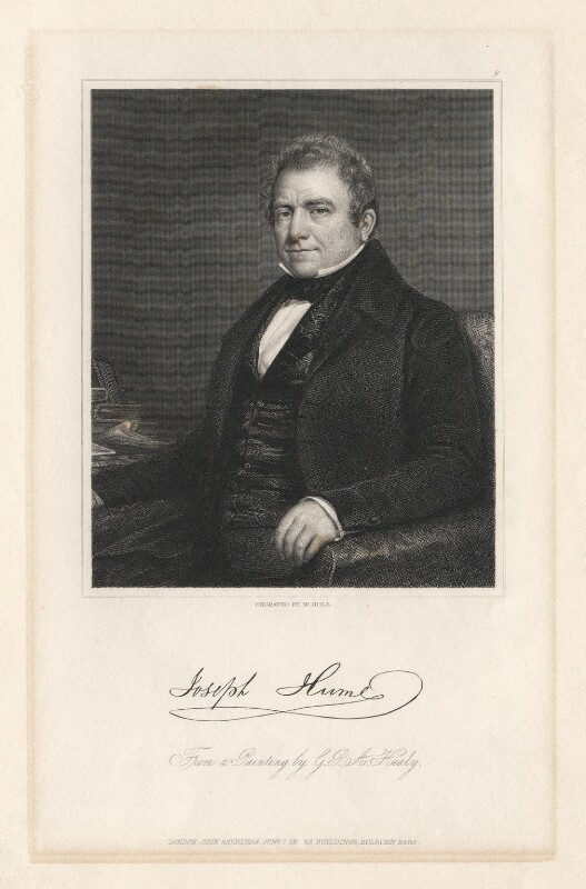 Joseph Hume, by William Holl Jr, published by  John Saunders, after  George Peter Alexander Healy, published 7 June 1840 - NPG D3286 - © National Portrait Gallery, London