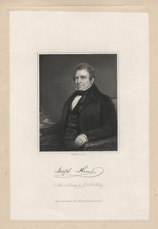 Joseph Hume, by William Holl Jr, published by  John Saunders, after  George Peter Alexander Healy, published 7 June 1840 - NPG D3287 - © National Portrait Gallery, London