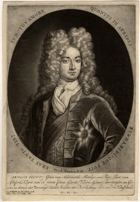 Arnold Joost van Keppel, 1st Earl of Albemarle, by Pieter Schenck, after  Unknown artist, published 1703 - NPG D332 - © National Portrait Gallery, London