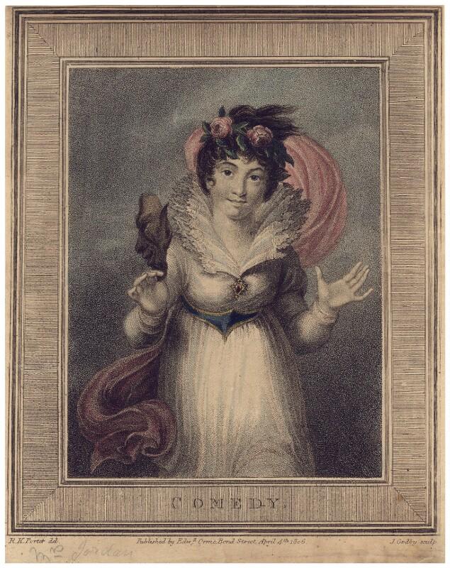 'Comedy' (Dorothy Jordan), by James Godby, after  Sir Robert Ker Porter, published 1806 - NPG D3322 - © National Portrait Gallery, London