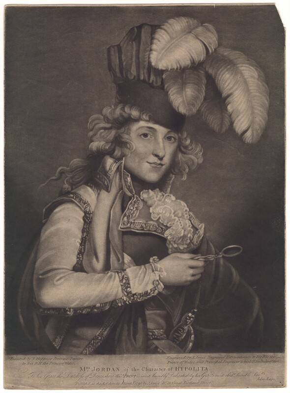 Dorothy Jordan as Hypolita, by and published by John Jones, after  John Hoppner, published 1 March 1791 (exhibited 1791) - NPG D3324 - © National Portrait Gallery, London