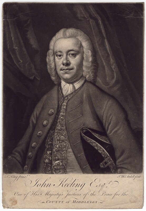 John Keeling, by James Macardell, after  Thomas King, 1756 - NPG D3359 - © National Portrait Gallery, London