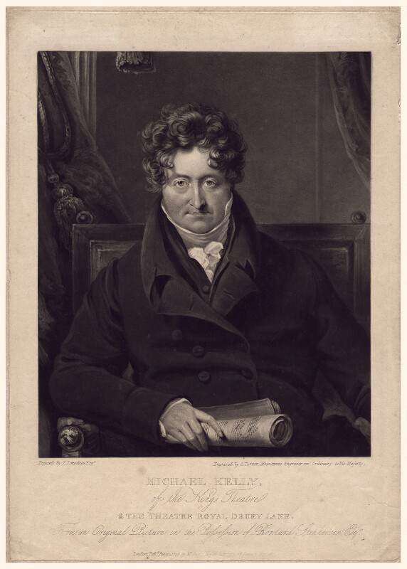 Michael Kelly, by Charles Turner, published by  William Sams, after  James Lonsdale, published 1 June 1825 - NPG D3361 - © National Portrait Gallery, London