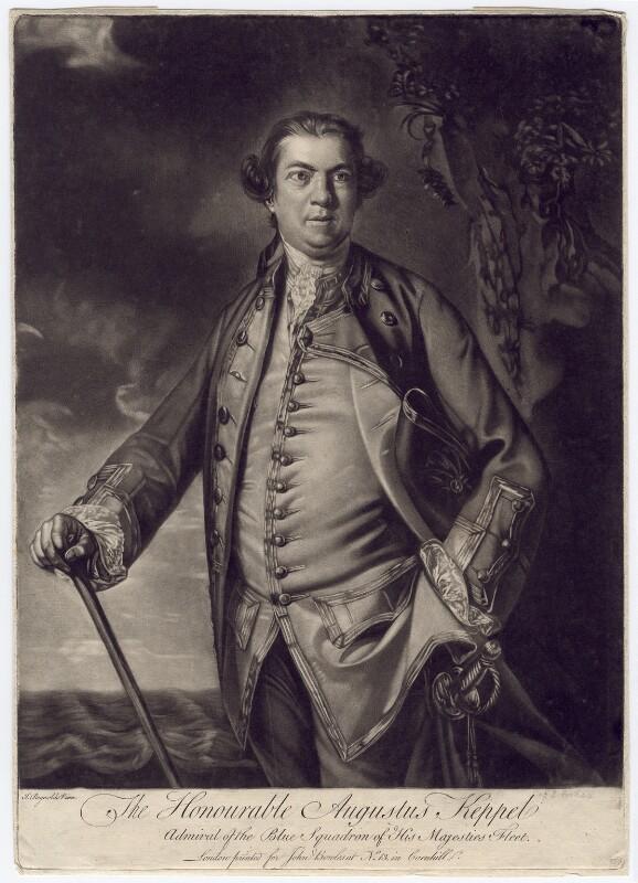 Augustus Keppel, Viscount Keppel, by Edward Fisher, published by  John Bowles, after  Sir Joshua Reynolds, 1760 (1759) - NPG D3407 - © National Portrait Gallery, London