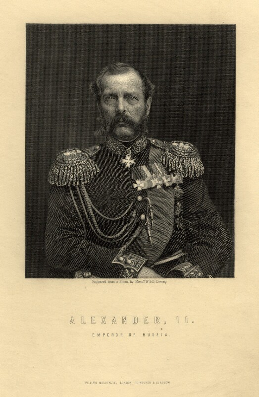 Alexander II, Emperor of Russia, after a photograph by W. & D. Downey, probably 1860s - NPG D3408 - © National Portrait Gallery, London