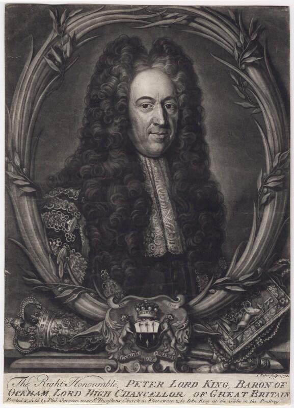 Peter King, 1st Baron King of Ockham, by John Faber Jr, after  Michael Dahl, 1730 - NPG D3422 - © National Portrait Gallery, London