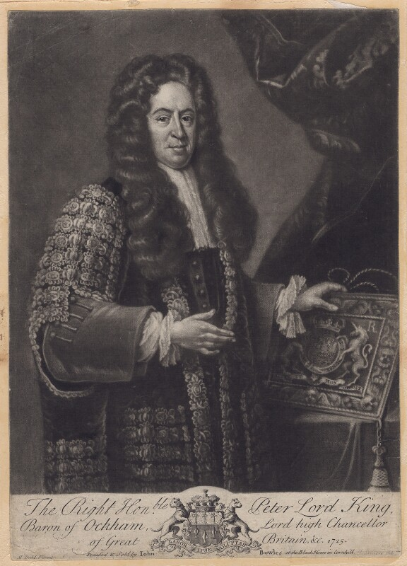 Peter King, 1st Baron King of Ockham, by John Simon, after  Michael Dahl, 1725 or after - NPG D3423 - © National Portrait Gallery, London