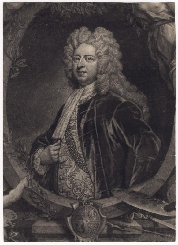 Sir Godfrey Kneller, Bt, by John Faber Jr, after  John Vanderbank, after  Sir Godfrey Kneller, Bt, circa 1719-1725 - NPG D3440 - © National Portrait Gallery, London