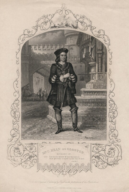 Charles John Kean as Gloucester in 'Richard III', published by John Tallis & Company, after  Reid, circa 1839-1846 - NPG D3450 - © National Portrait Gallery, London