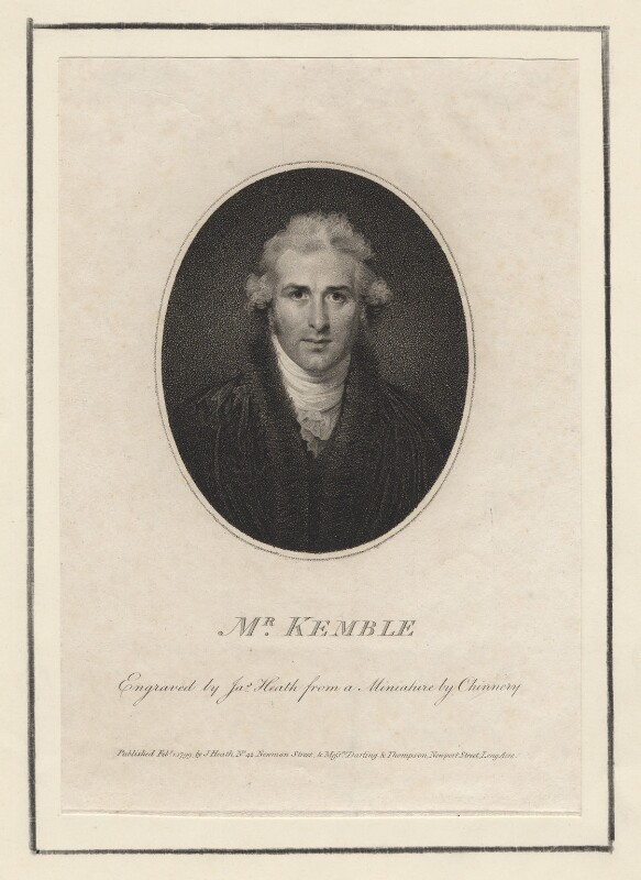 John Philip Kemble, by James Heath, after  George Chinnery, published 1799 - NPG D3464 - © National Portrait Gallery, London