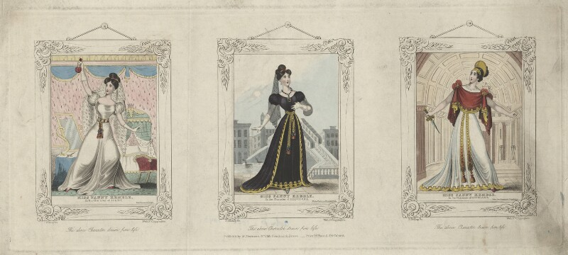 Fanny Kemble as Juliet, Belvidera and Euphrasia, by J. Bishop, published by  M. Thomson, circa 1830 - NPG D3467 - © National Portrait Gallery, London