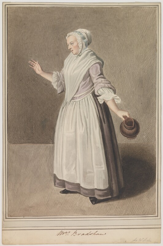 Mary Bradshaw in Garrick's 'The Farmer's Return from London', by Samuel De Wilde, after  Johan Joseph Zoffany, late 18th-early 19th century (circa 1762) - NPG D35 - © National Portrait Gallery, London
