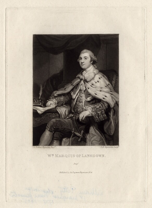 William Petty, 1st Marquess of Lansdowne (Lord Shelburne), by and published by Samuel William Reynolds, after  Sir Joshua Reynolds, (1764) - NPG D3536 - © National Portrait Gallery, London