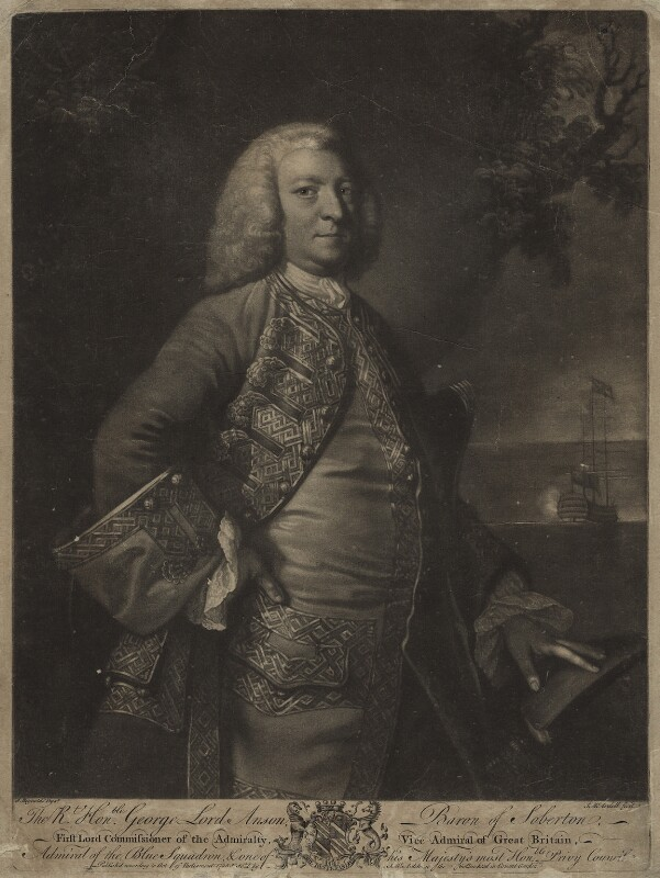 George Anson, 1st Baron Anson, by and sold by James Macardell, after  Sir Joshua Reynolds, published 1755 - NPG D357 - © National Portrait Gallery, London