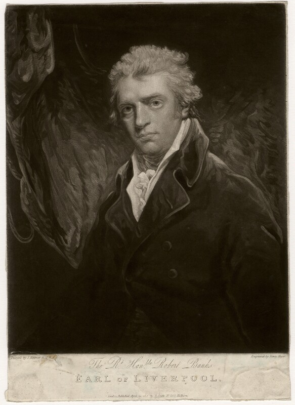 Robert Banks Jenkinson, 2nd Earl of Liverpool, by Henry Meyer, published by  Robert Cribb, after  John Hoppner, published 14 April 1815 - NPG D3596 - © National Portrait Gallery, London